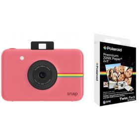 Polaroid Snap Instant Digital Camera, Pink + Polaroid 2x3 Inch Premium Zink 20PK Photo Paper Kit