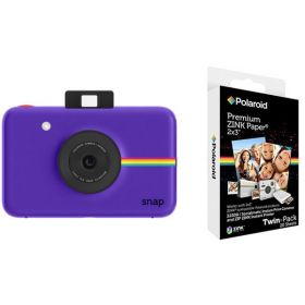 Polaroid Snap Instant Digital Camera, Purple + Polaroid 2x3 Inch Premium Zink 20PK Photo Paper Kit
