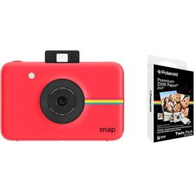 Polaroid Snap Instant Digital Camera, Red With Polaroid 2x3 Inch Premium Zink 20PK Photo Paper Kit