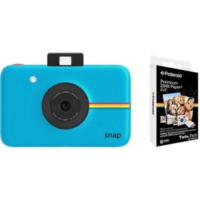 Polaroid Snap Instant Digital Camera, Blue With Polaroid 2x3 Inch Premium Zink 20PK Photo Paper Kit